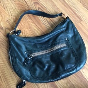 Black leather Kate Landry handbag w brown accents